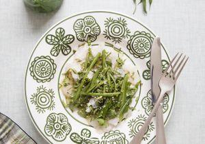 Carpaccio de cabillaud-haricots verts