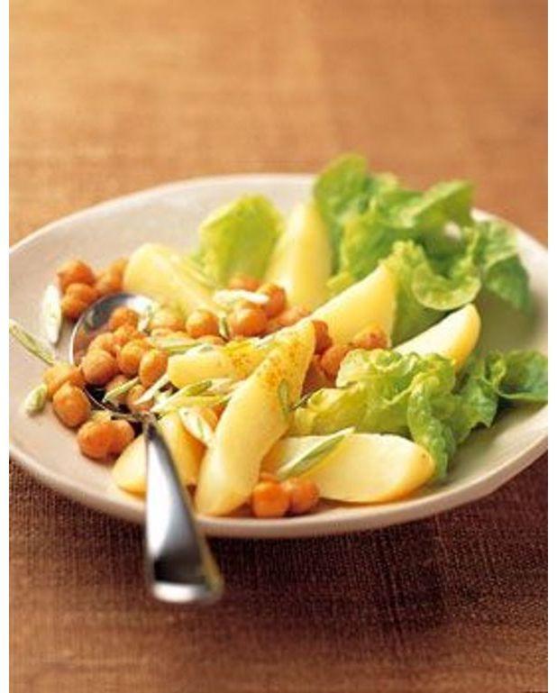 salade verte pommes de terre et pois chiches pour 4 personnes recettes elle table. Black Bedroom Furniture Sets. Home Design Ideas