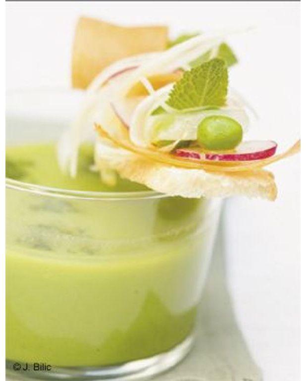 Soupe glac e de petits pois la menthe tartines de ch vre frais pour 6 personnes recettes - La cuisine des petits ...