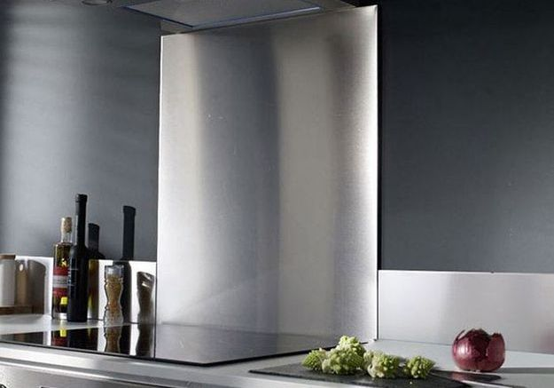 Crdence en miroir pour cuisine agrandir aspect aluminium for Credence en miroir pour cuisine