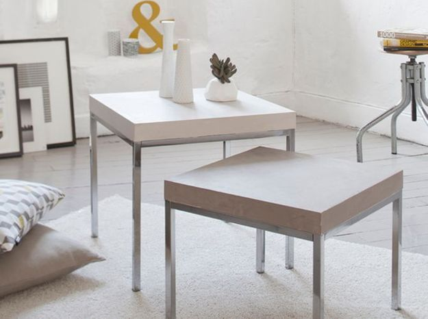 Un aspect b ton cir pour ma table elle d coration - Table en beton cire ...