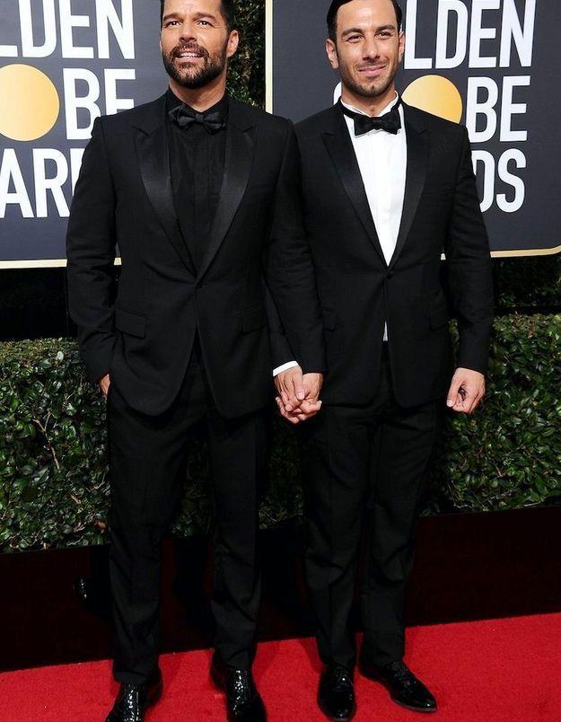 Ricky Martin en Giorgio Armani et son mari