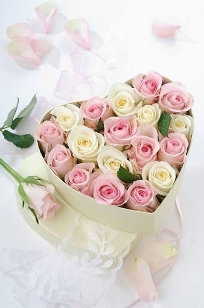 Fabuleux Bouquet de roses rose et blanc - Les plus beaux bouquets de roses  HH72