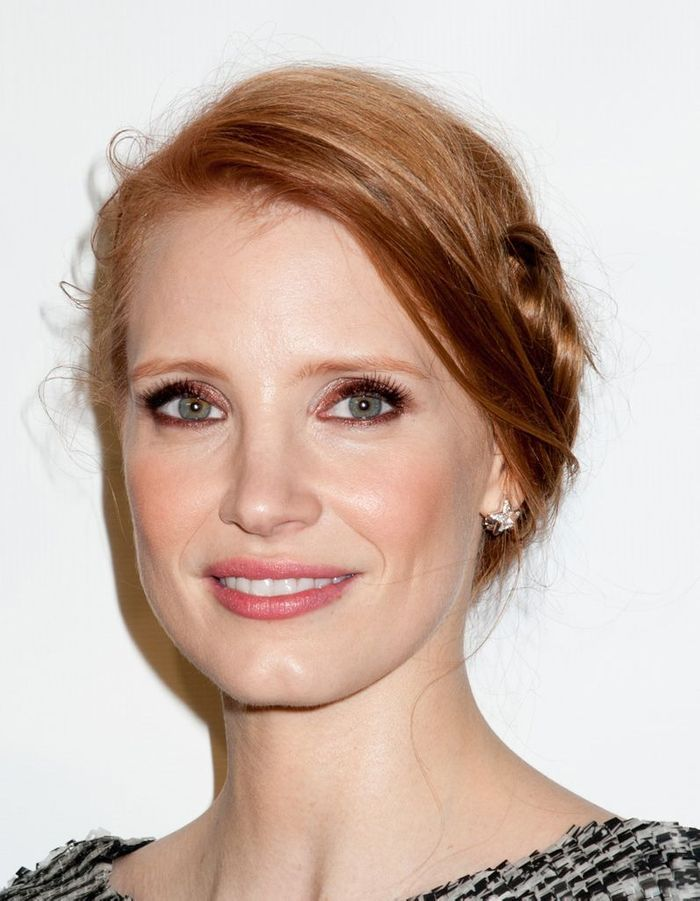 jessica chastain et son smoky eyes cuivr maquillage. Black Bedroom Furniture Sets. Home Design Ideas