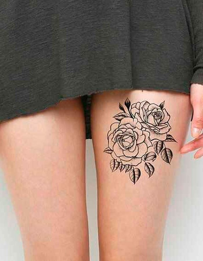 tatouage fleur sur la cuisse 20 tatouages fleuris qui font envie elle. Black Bedroom Furniture Sets. Home Design Ideas