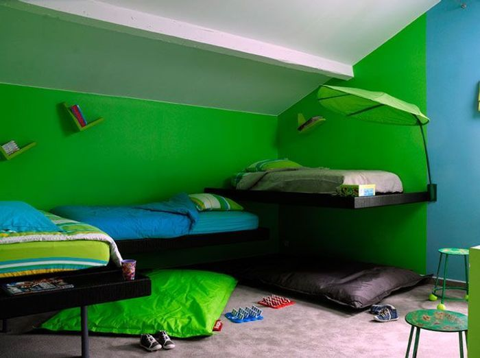 Chambre d 39 enfants un espace qui leur ressemble elle - Chambre garcon vert et gris ...
