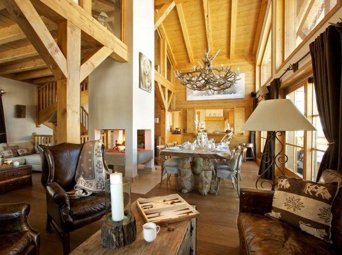 Chalet Decoration. Rustic Holiday Decor. Narrow Living Room Design ...