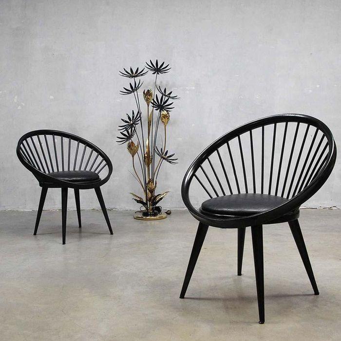 Chaises Circulaires Mid-Century par Yngve Ekström pour Swedese