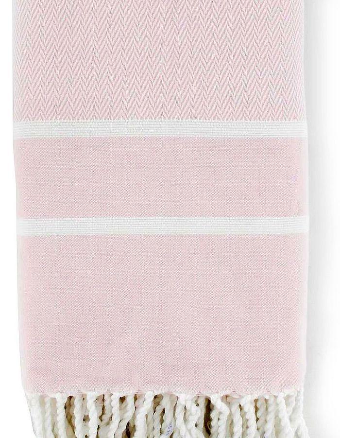 Fouta chevron, rose bébé, By Johanne