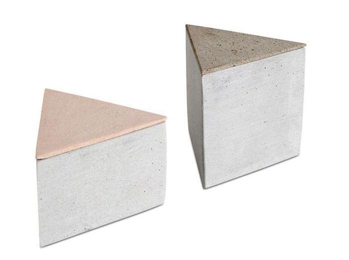 Des boîtes de rangement triangulaires effet béton