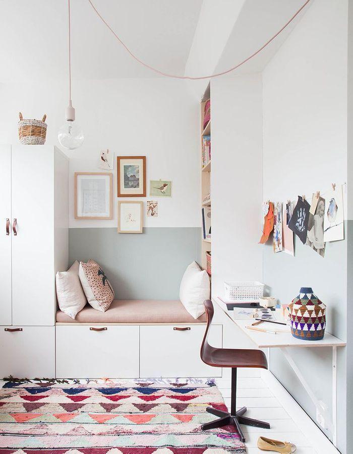 Une chambre d'enfant zen qui opte pour le mur bicolore