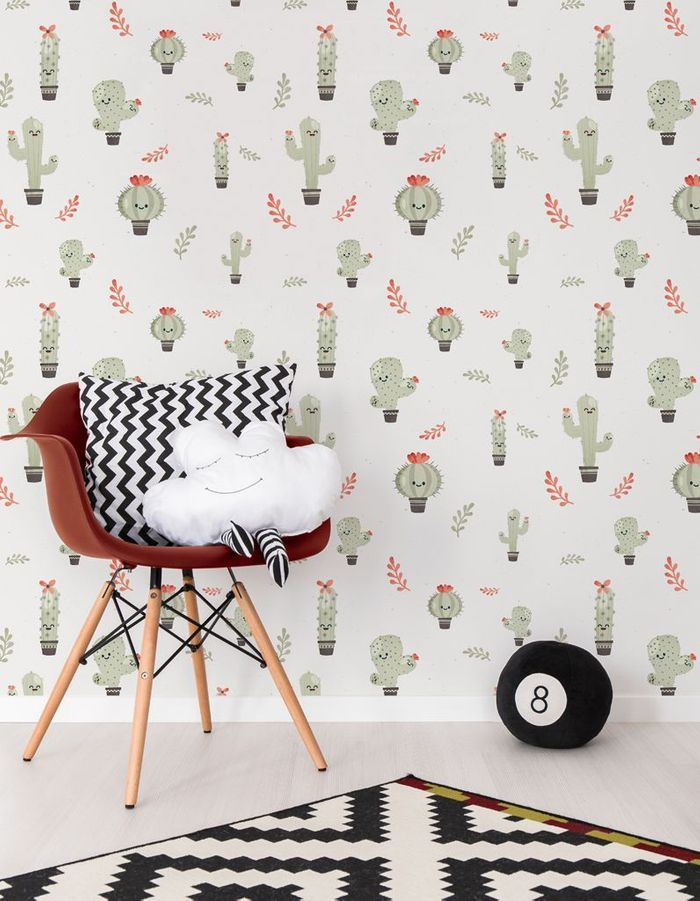 papier peint les cactus l 39 objet d co du jour du. Black Bedroom Furniture Sets. Home Design Ideas