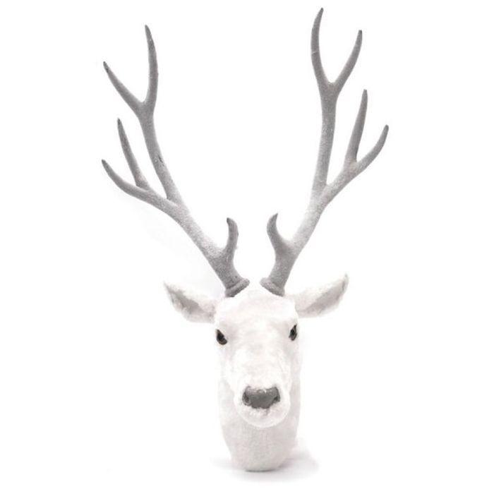 Trophée cerf en peluche blanche