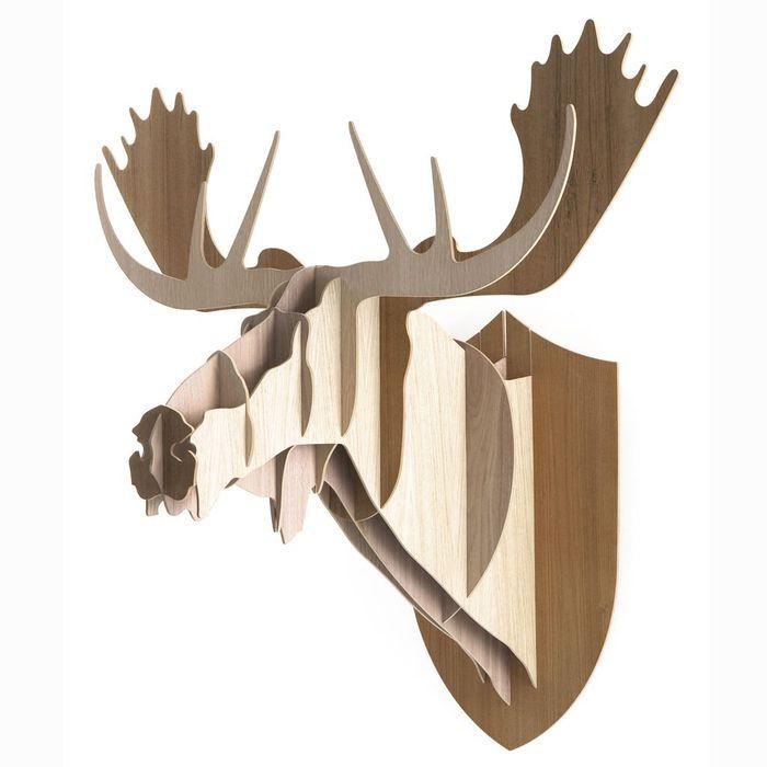 Trophée élan en bois