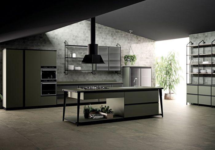 Une cuisine style factory verte