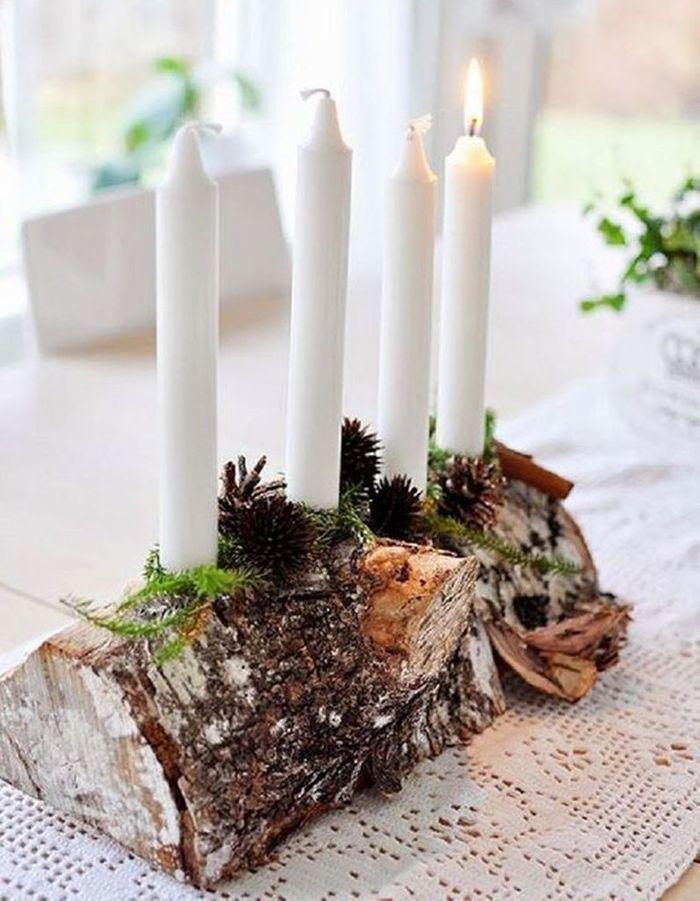 Décoration de table hiver : détournez une demi-bûche en chandelier