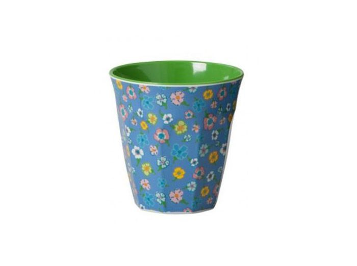 Verre en melamine fleurs vertes popline