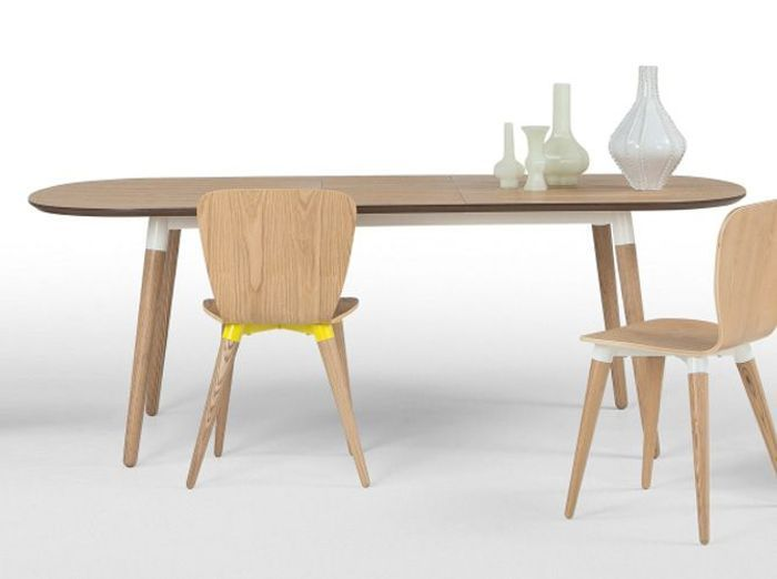 Table de cuisine style scandinave for Table ronde rallonge 8 a 10 personnes