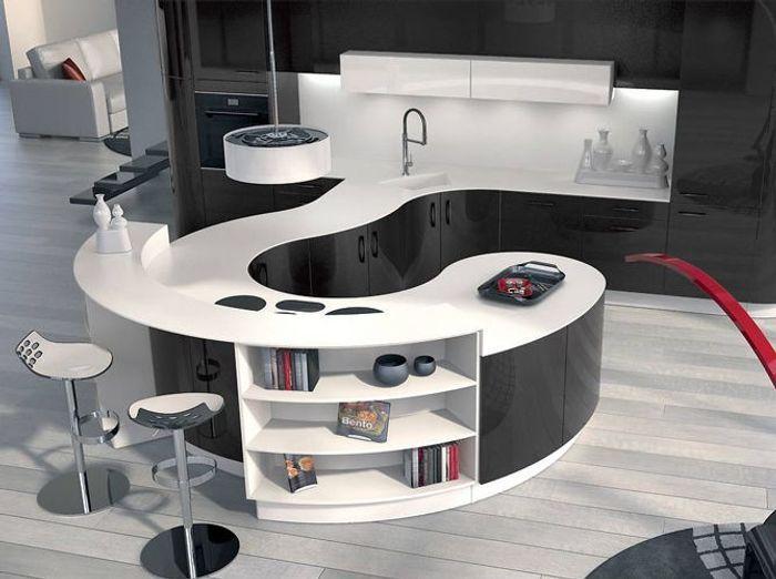 Cuisine cuisine blanc avec plan de travail noir : Noir et blanc habillent la cuisine ! - Elle Décoration
