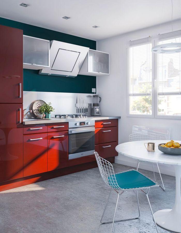 La cuisine rouge comme vous ne l avez jamais vue elle - Mur cuisine rouge ...