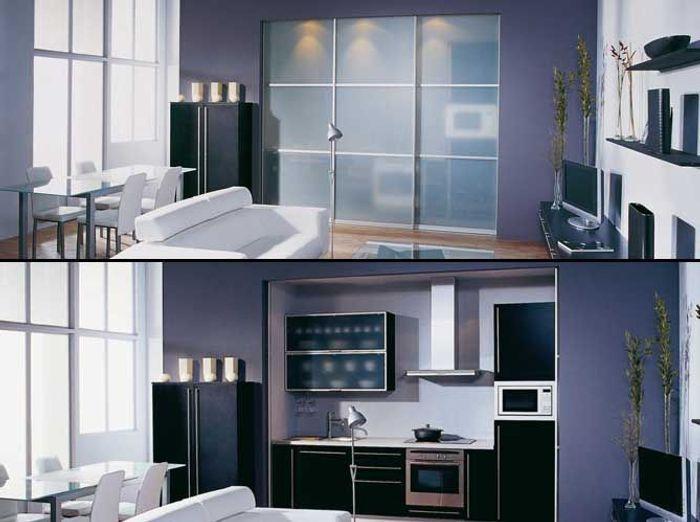 Une cuisine cach e dans un placard elle d coration - Adhesif pour porte de placard cuisine ...
