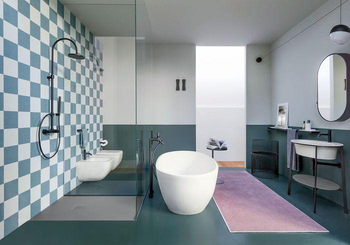 Une salle de bains design esprit Memphis