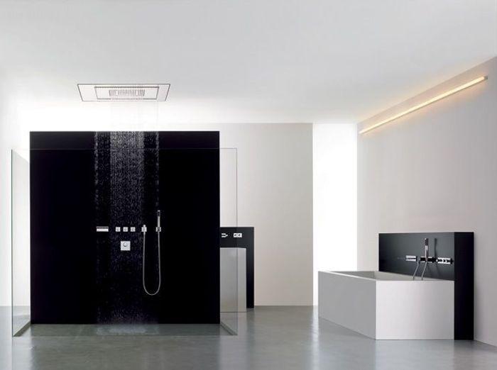 La salle de bains s 39 habille en noir et blanc elle d coration - Accessoires salle de bain design noir ...