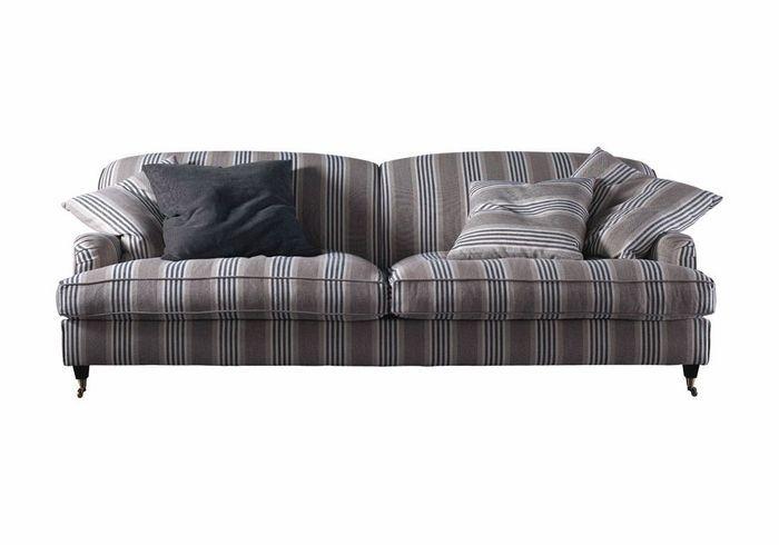 Shopping les canap s et fauteuils style british elle d coration - Canape tissu rayures ...