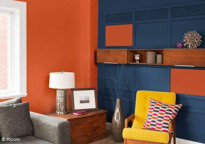Salon bleu et orange