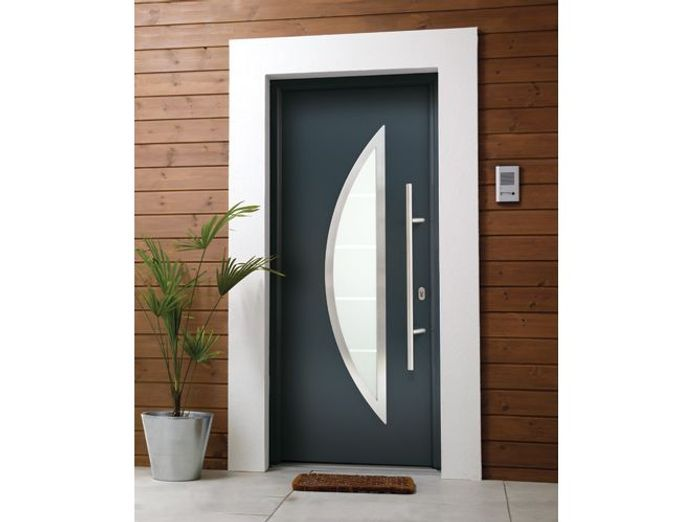 Porte d 39 entr e elle d coration for Porte entree alu contemporaine