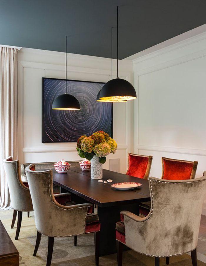 Un plafond bleu fonc pour une salle manger l gante - Salle manger scandinave un decor elegant et pratique ...