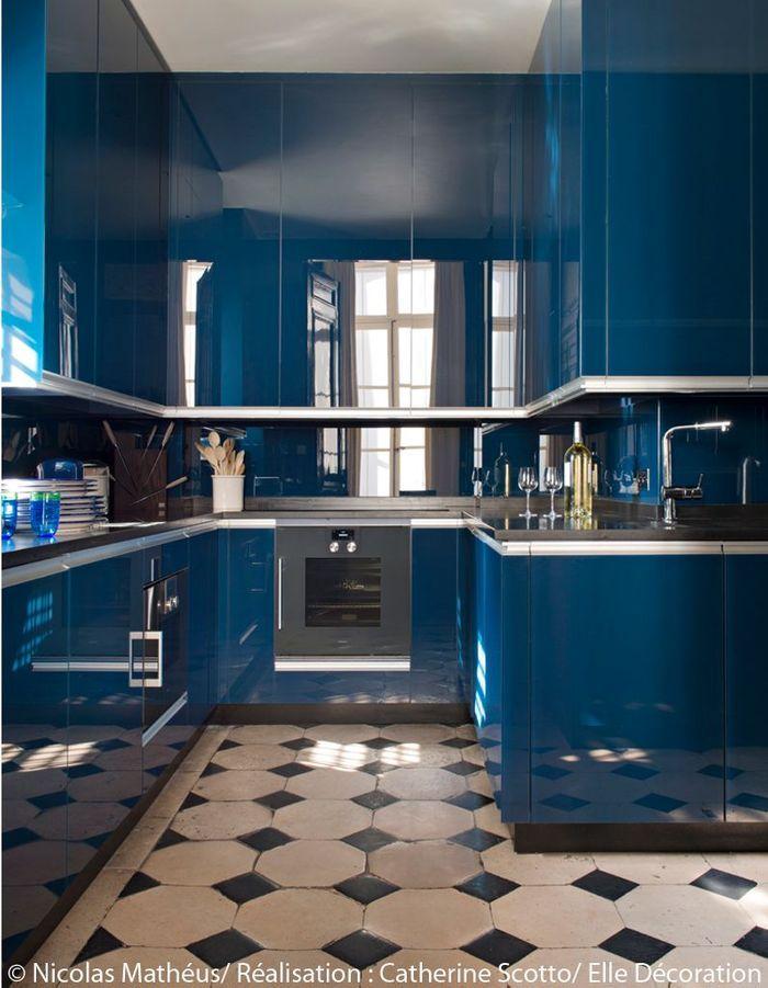 Une cuisine au total look bleu