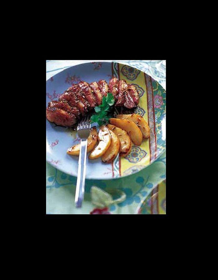 Magrets de canard aux poires et au saké