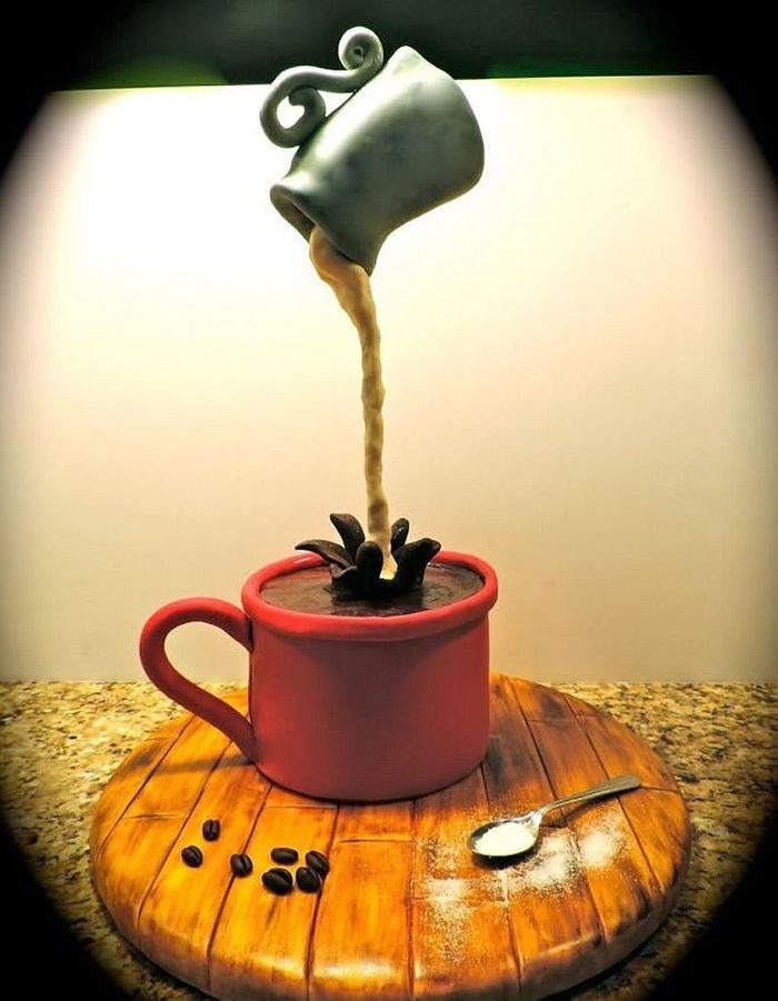 Gravity cake tasse de caf et pot de lait 20 gravity - Gravity cake noel ...