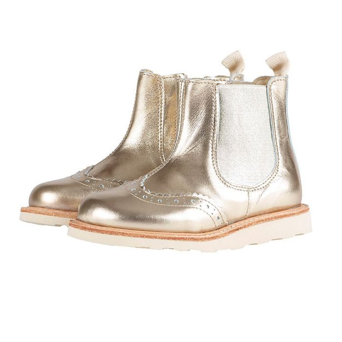 Boots chelsea en cuir doré, Young Soles
