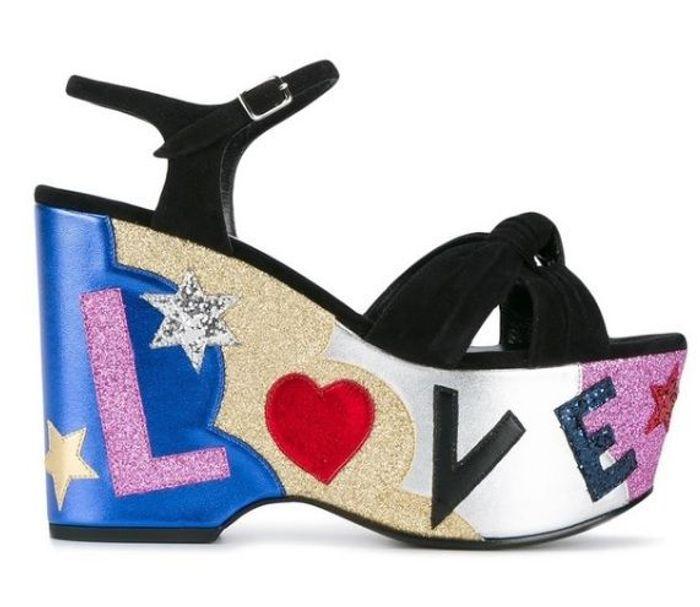 Sandales compensées Saint Laurent Paris