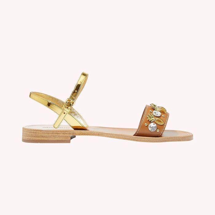 Sandales plates Miu Miu sur Matha Louisa