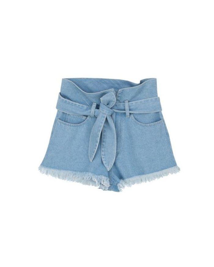 Short en jeans froncé à la taille - Bleu clair Nanushka
