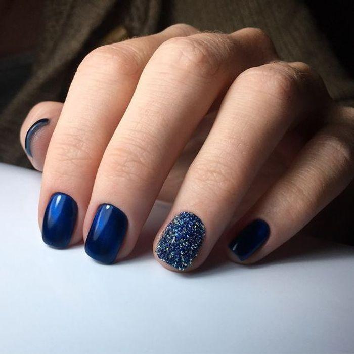 Manucure de no l bleu nuit nail art no l 30 id es de - Nail art bleu ...