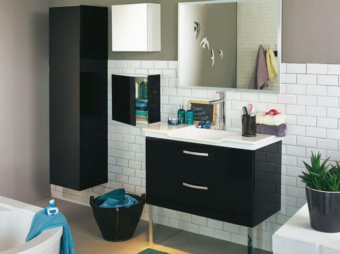 La salle de bains s\'habille en noir et blanc - Elle Décoration